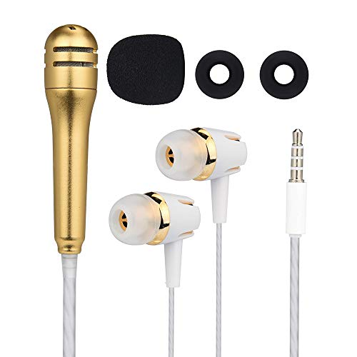Stheanoo Creative Earphone with Mini Karaoke Condenser Microphone In-Ear Wired Headphones for Cell Phone, Computer (Gold)