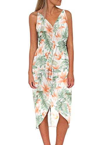 Dearlove Womens Sexy V Neck Spaghetti Strap Sleeveless Floral Print Loose Split Summer Casual Beach Wrap Maxi Dress White Small
