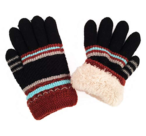 Kids Winter Ski Snow Iceskating Gloves Mittens Knit Fuzzy Fleece Lining for Toddlers Boy Girl/Little Boy Girl (Black) (Ice Skating Mittens)