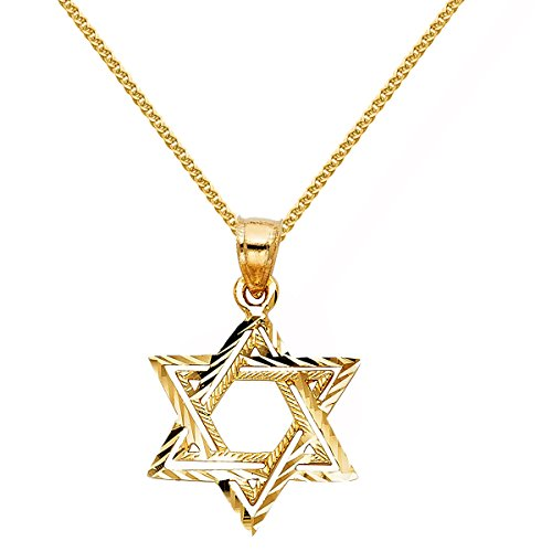 (14k Yellow Gold Textured Star David Religious Pendant 1.5-mm Flat Wheat Chain)