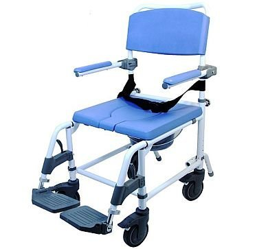 Attendant Shower Transport Chair Bath Toilet Commode Aluminum Adjustable by EZee Life ()