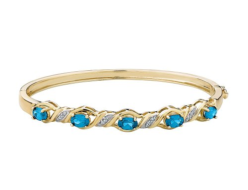 (Created Blue Topaz Bangle with Diamonds in Sterling Silver with 14K Yellow Gold Plating )