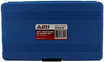 ABN Master Hex Socket Set 32-Piece Universal SAE and Metric Kit Allen Socket Bit 5//64-inch to 3//4-inch 2mm to 19mm