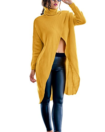 Gikim Women's Turtleneck Casual Plus Size Long Sleeve Loose Knit Pullover Sweater Yellow 2XL