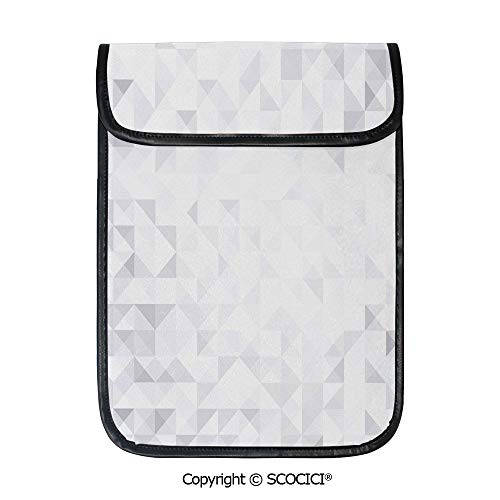 (SCOCICI Simple Protective Geometric Poly Artsy Triangles Abstract Pattern in Many Shades of Grey Pouch Bag Sleeve Case Cover for 12.9 inches Tablets)