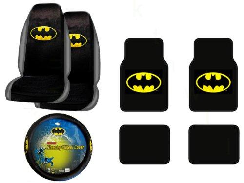 A Set of 4 Universal Fit Batman Plush Carpet Floor Mats and 1 Comfort Grip Steering Wheel Cover and A Set of 2 Universal Fit Seat Covers