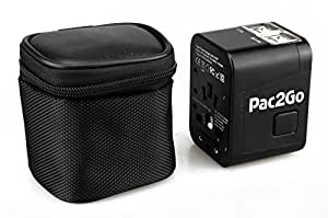 Pac2Go Universal Travel Adapter with Quad USB Charger - All-in-One Surge/Spike Protected Electrical Plug with Fast Charging USB Ports, International Power Socket works in 192 Countries - 4XUSB