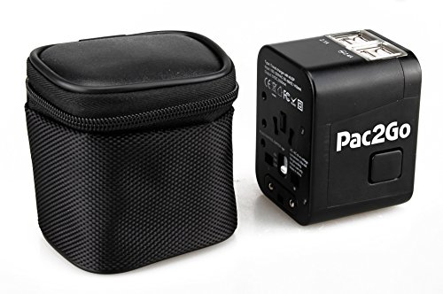 Pac2Go Universal Travel Adapter with Quad USB Charger - All-in-One Surge/Spike Protected Electrical Plug with Fast Charging USB Ports, International Power Socket works in 192 Countries - 4XUSB by Pac2Go