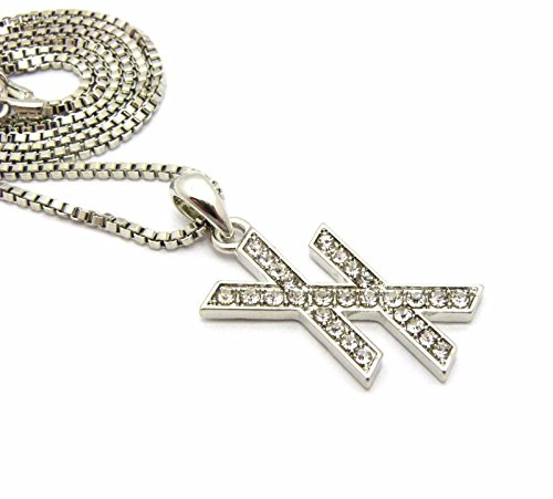 Shiny Jewelers USA Mens ICED Out Hip HOP Cubic Zirconia CZ Silver MGK XX Pendant Box, Rope, Cuban Chain Necklace (Box Chain)