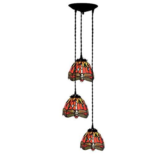 Glight Tiffany Style Chandelier, Red Dragonfly Design Three-Head Glass Pendant Lamp, Simple Restaurant Bar Balcony Aisle Pendant Lights (Color : B) ()