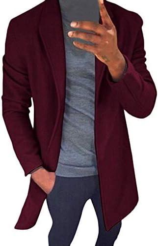 Emubody Wool Long Sleeve Windbreaker Jacket for Men, Solid Color Winter Warm Slim Fit Trench Coat Jacket Outwear Top Men