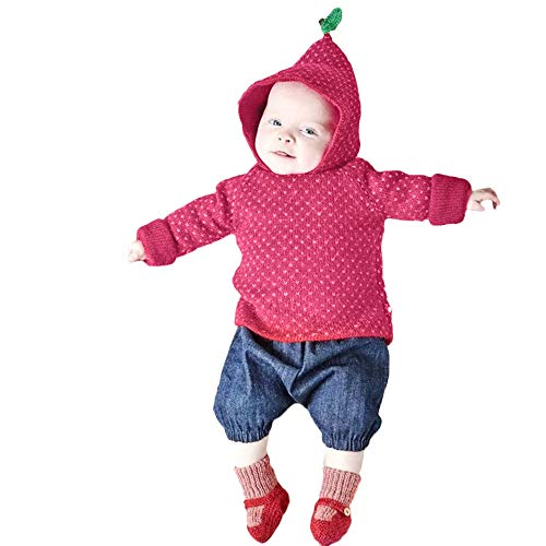 G-real Baby Xmas Sweater, Toddler Kids Baby Girls Boys Long Sleeve Strawberry Hooded Tops Sweater Fall Winter Cute Blouse -
