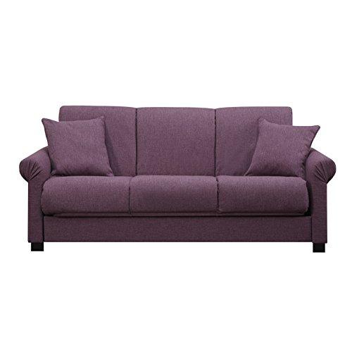 Metro Shop Portfolio Rio Convert-a-Couch Amethyst Purple Linen Futon Sofa Sleeper