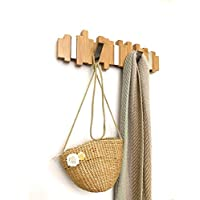 Behold Baby Coat Rack - 100% Natural Bamboo, Wall-Mounted Coat and Hat Hanger, Sturdy Chrome Flip Hooks, Modern and Urban Design for Entryway Hallway Bathroom Bedroom Closet