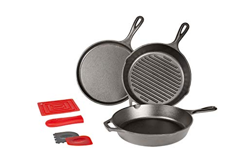 Lodge L6SPA41 Essential Pan Set, 7-Piece, Black