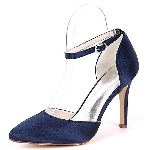 Haute De 22A Pompes Cheville Strap Robe Talon De Deepblue Femmes Mariage EU40 Chaussure Soirée Satin Flower UK7 Ager 0608 Bal qxC7wEIp