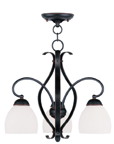 Livex Lighting 4773-67 Brookside 3-Light Convertible Hanging Lantern/Ceiling Mount, Olde Bronze