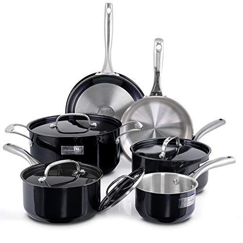 Fleischer & Wolf Titanium Coated Pots and Pans Sets, Induction Cookware Set 10pcs, Stainless Steel,Cuisine Set-Oven Grill, Kitchen Dishwasher Safe