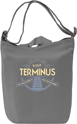 Visit Terminus Borsa Giornaliera Canvas Canvas Day Bag| 100% Premium Cotton Canvas| DTG Printing|