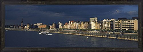 Buildings at the waterfront, Rhine River, Dusseldorf, Germany by Panoramic Images Framed Art Print Wall Picture, Espresso Brown Frame, 38 x 14 inches (Rhine River Framed)