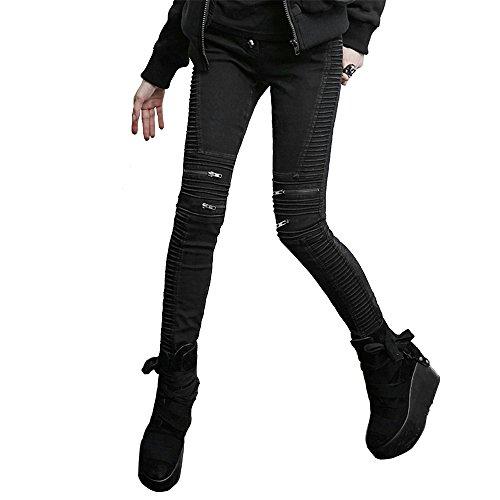Punk Women Black Tight Pants Fashion Skull Slim Jeans Leggings (S, (Glitter Skull Tights)
