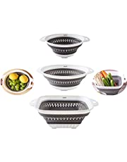 Colander collapsible, Colander Strainer Over The Sink Veggies/Fruit Strainers and Colanders with Extendable Handles, Folding Strainer for Kitchen, 3pcs (GRAY)