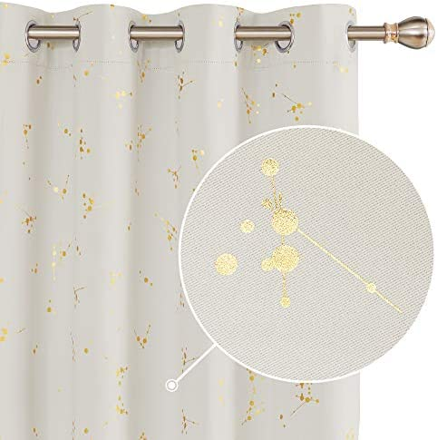 Deconovo Blackout Curtain Grommet Light Blocking Window Drapes Foil Printed Constellation Pattern Curtains Light Beige 52 x 108 inch