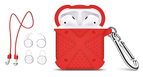 (MeanLove MS18A2 AirPods Case, Silicone Cover and Skin [Heavy Duty Protection] with Magnetic Anti-Lost Strap and 2 Pairs of Ear Hooks for Apple AirPods (Red) - Airpods Accessories Set)