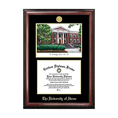 Campus Images Sports Team Logo Design University of Akron Gold Embossed Diploma Frame with Campus Images Lithograph