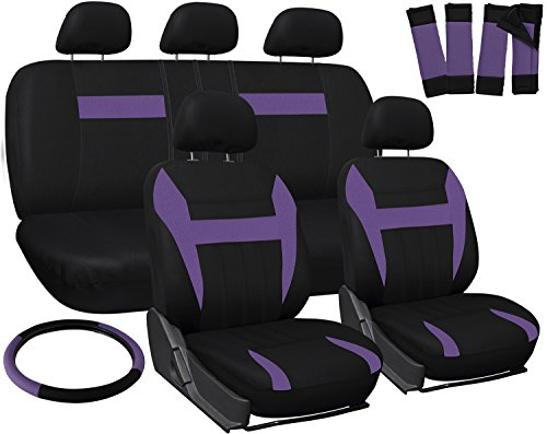 OxGord Car Seat Cover - Purple/ Black fits Car, Truck, Van, SUV - Full Set