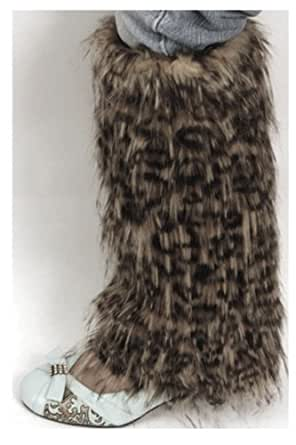 EH9131WL - Leopard Print Faux Fur Leg Warmers / Boot Covers / Boot Sleeves ( 3 Colors ) - Black/One Size