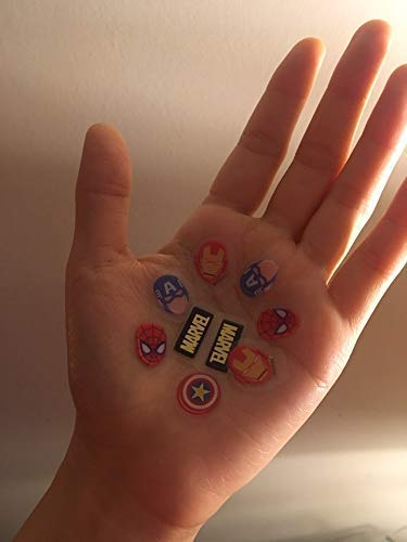 Kamio Japan Marvel Ironman Spiderman Captain America Shield Avenges Drop Peko Stickers art stickers vynil pack of 100 stationary laptop computer dairy letter card desk deco note Kids Girls Teachers