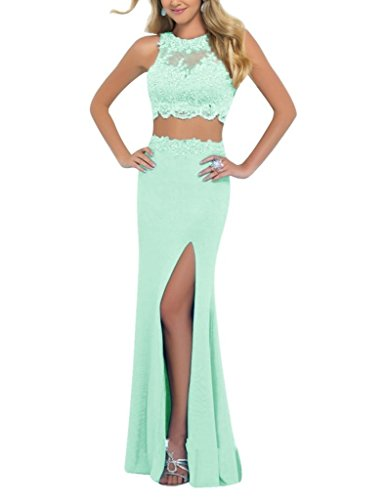 Linabridal Women's Lace Crystal 2 Pieces Long Homecoming Dress Prom