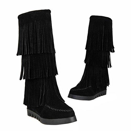 YE Damen Nubuckleder Mittelalter Stiefeletten mit Fransen Keilabsatz 6cm Absatz Herbst Winter Mid Calf Boots Schuhe Schwarz