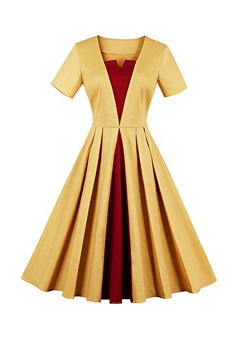 スケジュール唯一本土MISSVIN 女性の1950年代のレトロなショートスリーブラインのカクテルパーティードレス