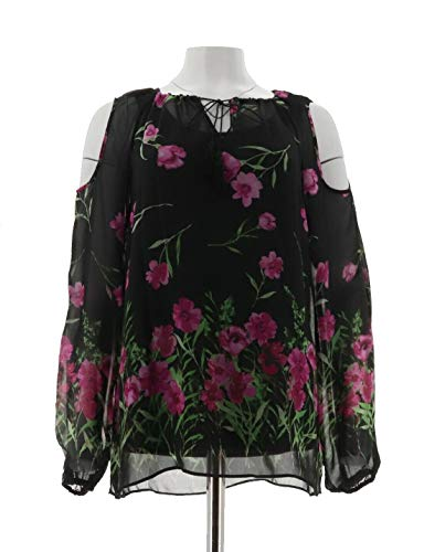 Dennis Basso Floral Print Cold Shoulder Blouse Cami Black Combo M New A289807 from Dennis Basso