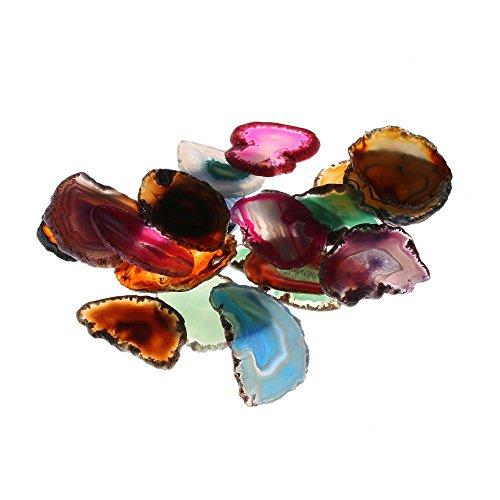 OFCCN Natural Quartz Pendant Healing Stone,Irregular Crystal Agate Geode Slice,Home Decor Collectibles Gemstone Mineral Specimens