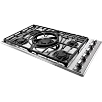 Capital Maestro Series MCT365GS-N 36 Natural Gas Cooktop with 5 Sealed Burners Indicator Lights Reversible Central Wok Grate and Electronic Ignition/Re-ignition in Stainless