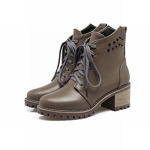 Charm Foot Mujeres Western Lace Up Remaches Chunky High Heel Botines Dark Khaki