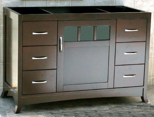 Solid Wood 48″ Bathroom Vanity Cabinet Black Granite Stone