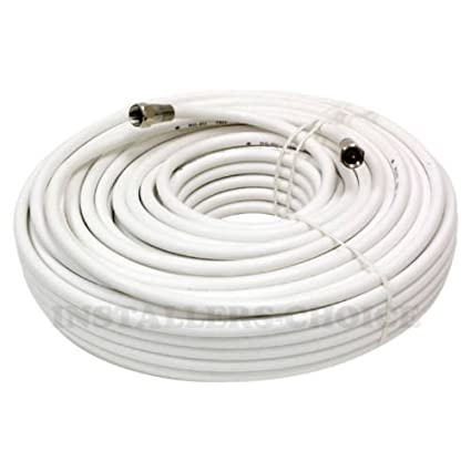 50 FT RG59 COAXIAL DIGITAl AV CABLE FOR SATELLITE TV VCR VIDEO OUTDOOR WHITE NEW