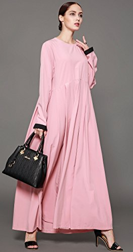 Ababalaya Women's Elegant Modest Muslim Full Length O-Neck Solid Pleated Runway Abaya S-4XL,Pink,Tag Size L = US Size 10-12 by Ababalaya (Image #6)