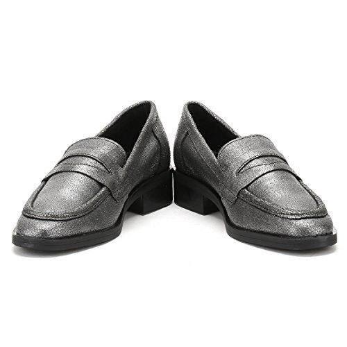 TOWER London Femmes Argent Pulverized Cuir Loafers