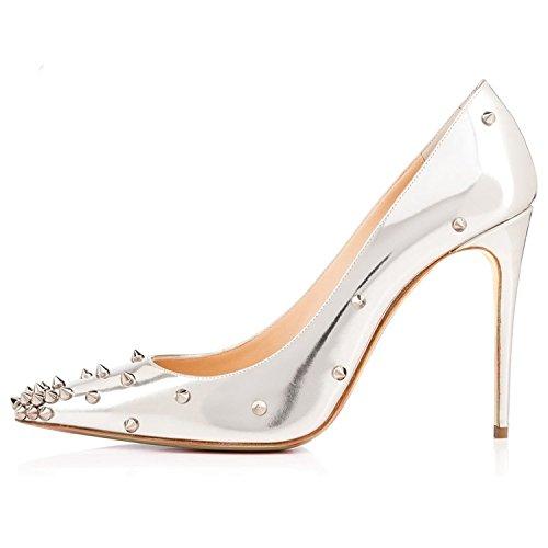 Arc-en-ciel zapatos de las mujeres del tacón alto señalaron las bombas del dedo del pie tachonado Silver
