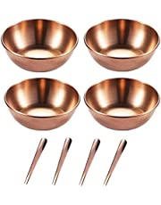 SDUSEIO 4 Pieces Stainless Steel Sauce Dishes Mini Individual Saucers Bowl Round Seasoning Dishes Sushi Dipping Bowl Appetizer Plates Dessert Plate with 4 Pieces Spoon and Fork 2-in-1