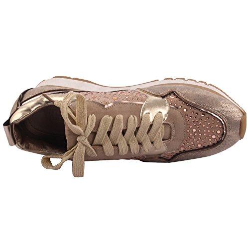 Unze Frauen Shimmoro Dekoriert Geschnürt up Schuhe Party Road Trip Karneval Konzert Trainer Schuhe Größe 3-8 - F657-3 Gold