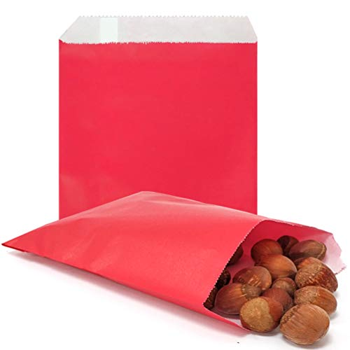 AZOWA 100 CT Small Paper Treat Sacks Red 5 x 7 Inches Candy Buffet Bags for Party ()