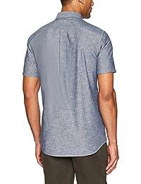 Brand - Camisa de cambray de manga corta Slimth Fit para hombre