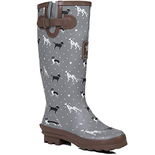 Spylovebuy Adjustable Buckle Flat Festival Wellies Rain Boots Labrador, Dalmation & Border Collie Sz 7