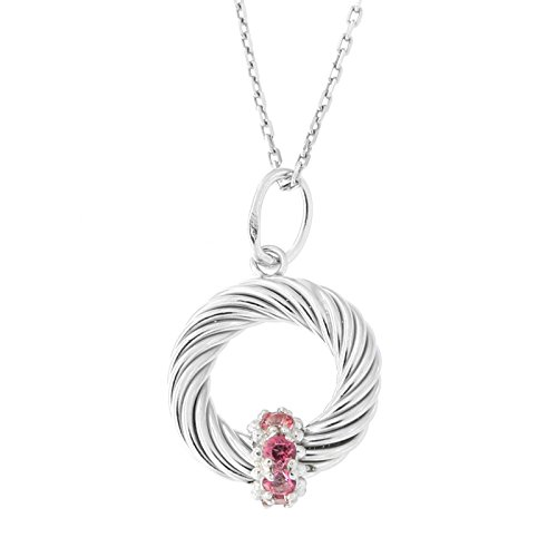 Solid Sterling Silver Rhodium Plated Pink Topaz Open Circle Italian Cable Pendant Necklace, 16